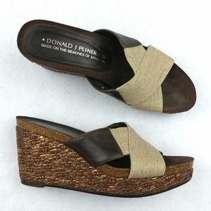 Donald J Pliner Wedges Sandals Basketweave Sz 7M